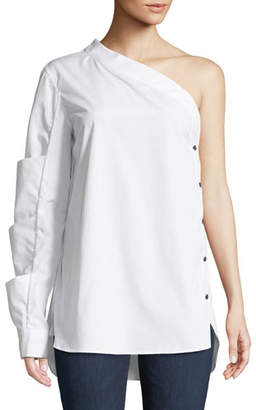 Monographie One-Sleeve Side-Button Poplin Top