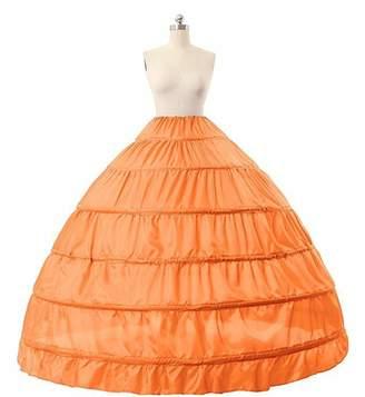 Yiweir 6 Hoops Skirt Crinoline Petticoat Floor Length for Bridal Gown