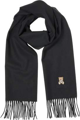 Moschino Teddy Bear Solid Wool Fringed Long Scarf