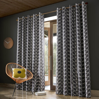 Orla Kiely Linear Stem Eyelet Curtains - Charcoal - 117x183cm
