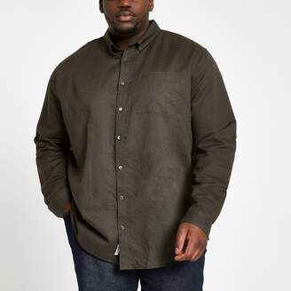 River Island Mens Big and Tall Khaki linen long sleeve shirt