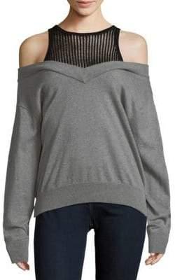 Cold-Shoulder Cotton Sweater