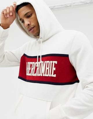 Abercrombie & Fitch chest stripe logo hoodie in white/red