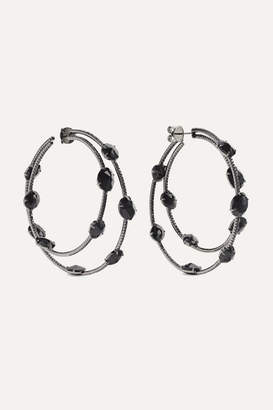 Ofira 18-karat Blackened White Gold, Spinel And Diamond Hoop Earrings - one size