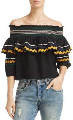 Red Carter Paloma Off-the-Shoulder Ric Rac Top $150 thestylecure.com