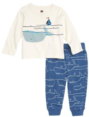 Tea Collection Diving Whale Graphic Shirt & Sweatpants Set