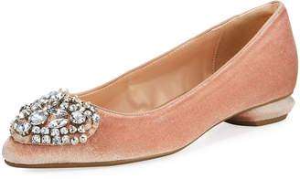 Neiman Marcus Klass Velvet Pointed-Toe Embellished Flat