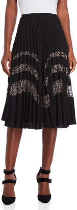 Karen Millen Pleated Lace Stripe Skirt