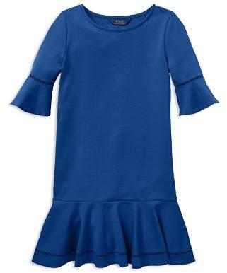 Ralph Lauren Girls' Ponte Bell-Sleeve Drop-Waist Dress - Little Kid