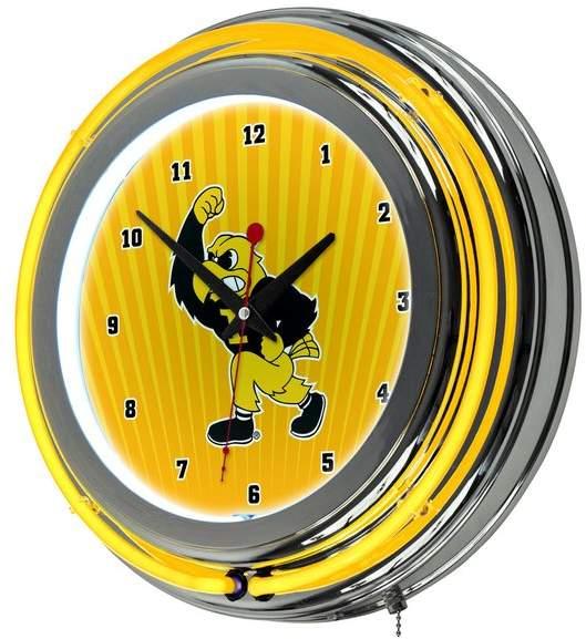 Trademark Gameroom University of Iowa Chrome Double Rung Neon Clock