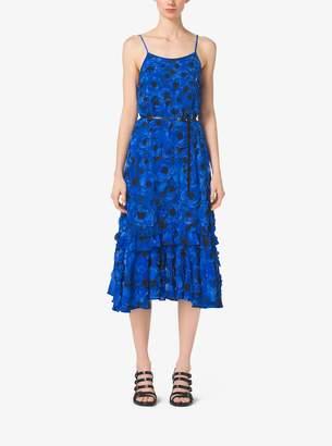 Michael Kors Poppy-Embroidered Silk-Georgette Slip Dress
