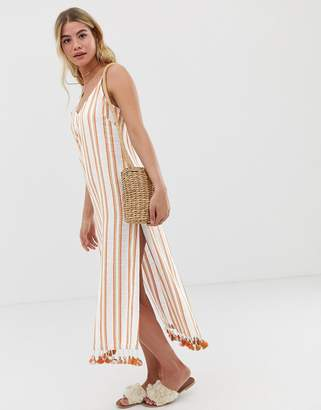 Tigerlily Vanita midi dress in embroidered stripe