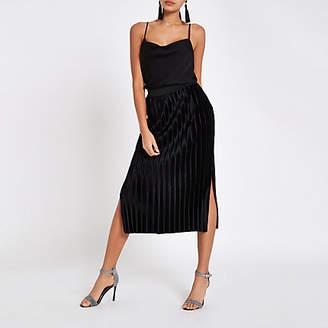 River Island Womens Black velvet plisse midi skirt