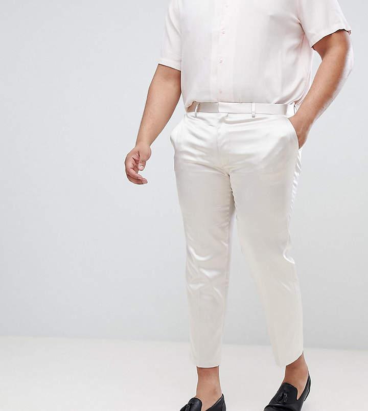 Asos Plus Wedding Skinny Crop Smart Pant In Cream Sateen