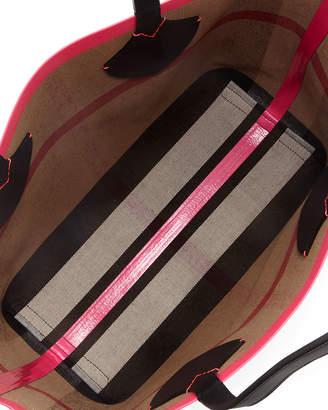 Burberry Check-Print Canvas Shoulder Tote Bag