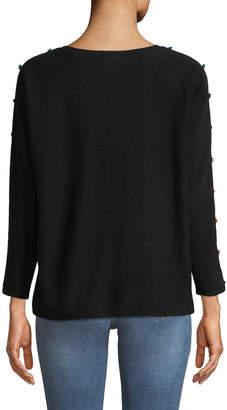 Neiman Marcus 3/4-Sleeve Cashmere Pompom Button Sweater, Black
