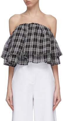 C/Meo Collective 'Captivate' tiered ruffle check plaid strapless cropped top