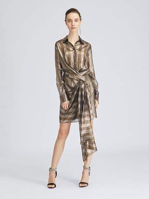 Oscar de la Renta Striped Lame Mousseline Wrap Shirtdress