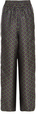 Golden Goose Sophie Piped Jacquard Wide-leg Pants - Green