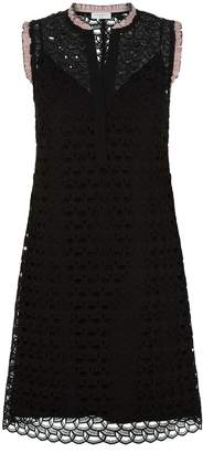 Sandro Ruffled Sleeveless Lace Dress