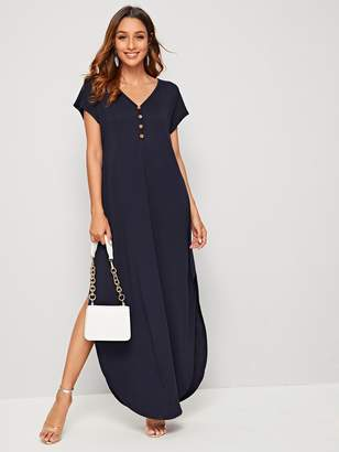 Shein Buttoned Front Curved Hem Tee Dress