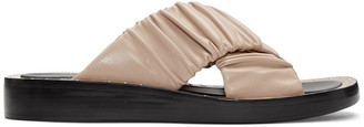 3.1 Phillip Lim Beige Ruched Sandals $495 thestylecure.com