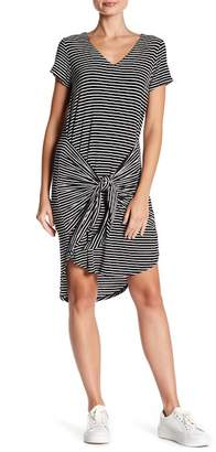 B Collection by Bobeau Short Sleeve Striped Front Tie Dress