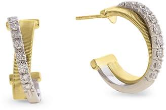 Marco Bicego Yellow and White Gold Diamond Crossover Masai Earrings