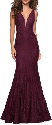 La Femme Plunge Neck Lace Evening Dress with Train