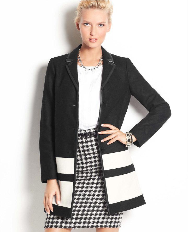 Ann Taylor Petite Colorblock Wool Blend Coat