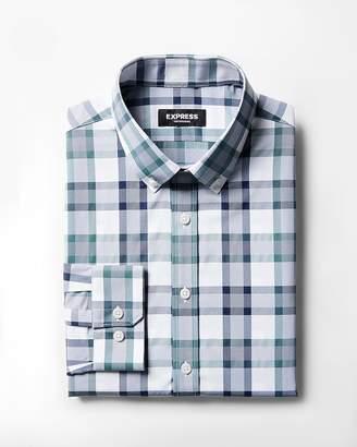 Express Slim Plaid Button Collar Wrinkle-Resistant Performance Dress Shirt