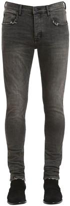 Purple Slim Fit Distressed Coated Denim Jeans