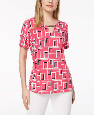 JM Collection Printed Keyhole Top, Created for Macy's