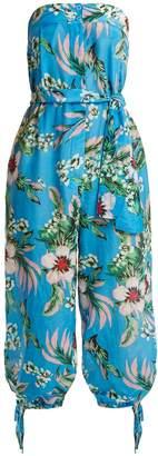 Diane von Furstenberg Floral-print strapless cotton-blend jumpsuit