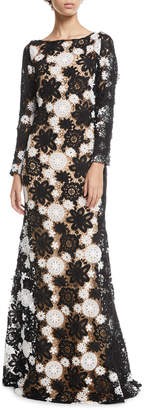 Naeem Khan Boat-Neck Long-Sleeve A-Line Lace-Guipure Evening Gown