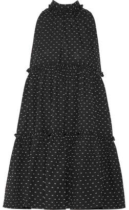 Lisa Marie Fernandez Tiered Fil Coupé Cotton Mini Dress - Black