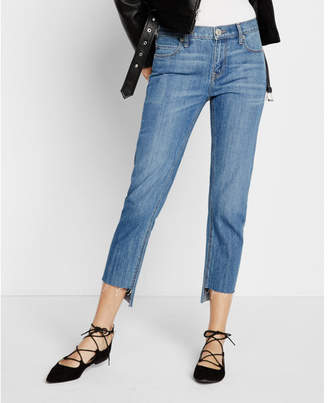 Express mid rise raw step hem girlfriend jeans