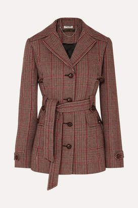 Miu Miu Belted Prince Of Wales Checked Wool-blend Blazer - Red