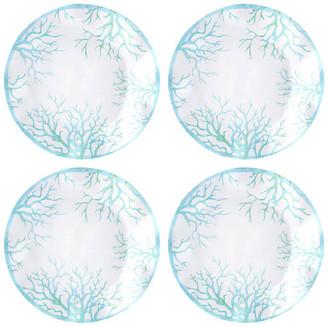 Q Squared Set of 4 Captiva Melamine Dinner Plates - Teal