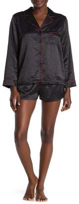 Jonquil In Bloom by Polka Dot Long Sleeve Satin Shirt & Shorts Pajama 2-Piece Set