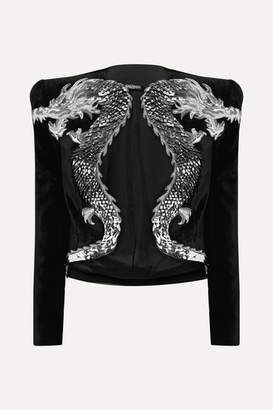 Balmain Cropped Appliquéd Embellished Velvet Jacket - Black