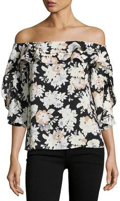 Collective Concepts Off-The-Shoulder Floral Top, Black/White $59 thestylecure.com