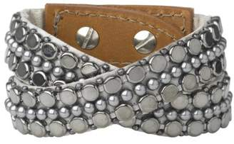 Fiona Paxton Hand Beaded Double Wrap Cuff, Brass Chain and Beads on Leather of 41cm