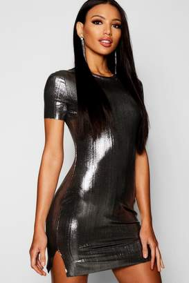boohoo Metallic Shift Dress
