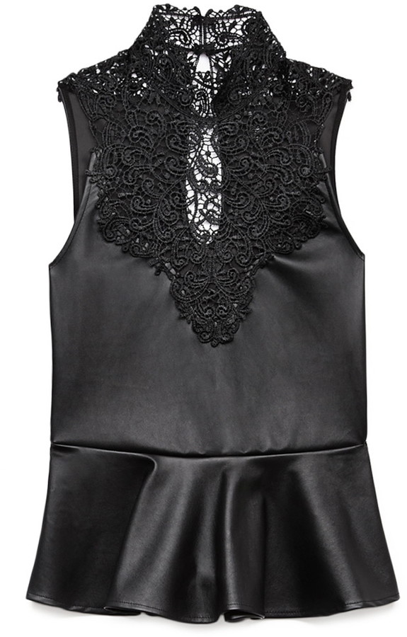 Forever 21 Posh Lace Peplum Top