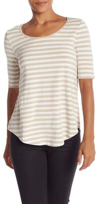 Catherine Malandrino Curved Hem Striped Scoop Neck Tee