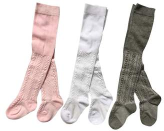Jeleuon Baby Girls Infant Toddler Soft Stock Flower Tights Warm Legging Pants 3 Pack (0-6 Months)