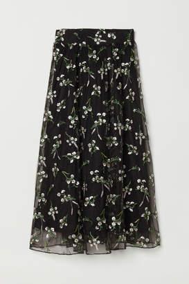 H&M Embroidered Mesh Skirt - Black