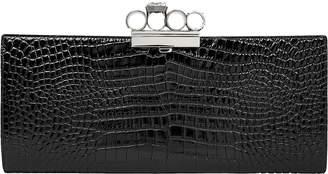 Alexander McQueen Skull Ring Croc-Embossed Clutch