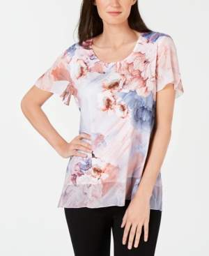 JM Collection Printed Embellished Flutter-Sleeve Top, Created for Macy's